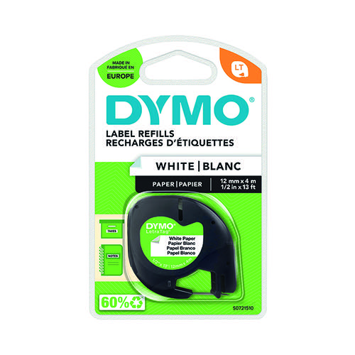 Dymo 91200 LetraTAG Paper Tape 12mm x 4m White S0721510