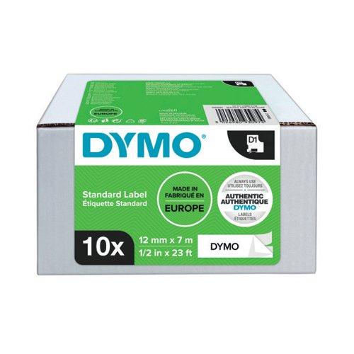 Dymo 45013 D1 LabelMaker Tape 12mm x 7m Black on White S0720530