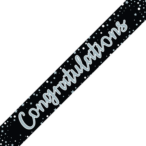 Congratulations Banner Black/Silver (Pack of 6) 6837-CONG