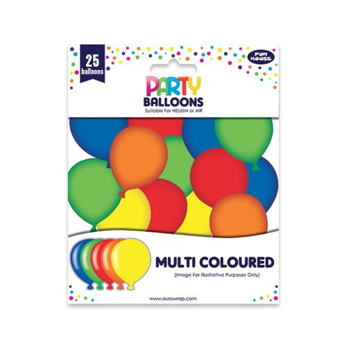 Party Balloons Multicoloured (Pack of 6) 12924-M-1