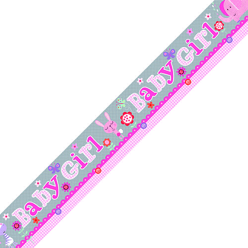 Baby Girl Banner Grey/Pink (Pack of 6) 6837-BGB-3