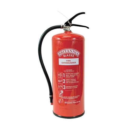 Fire Extinguisher Water 9 Litre (Certified to BS EN3 combats Class A fires) XWS9
