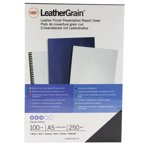 GBC LeatherGrain A5 Binding Covers 250gsm Black (Pack of 100) 4400017