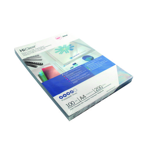 GBC HiClear A4 Binding Cover 20 Mic SuperClear (Pack of 100) CE012080U