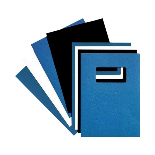 GBC LeatherGrain 250gsm A4 With Title Window Blue Binding Covers (Pack of 50) 46735E