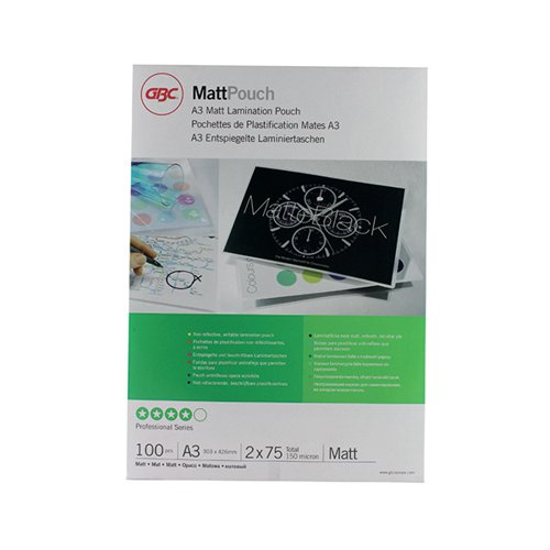 GBC A3 Laminating Pouch 150 Micron Matte (Pack of 100) 41660E
