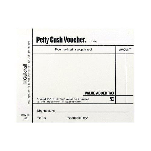 Guildhall Wht Petty Cash Pad 100Lf Pk5