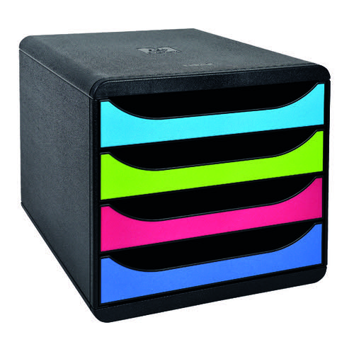 Exacompta Big Box Carbon Neutral 4 Drawer Black/Multicoloured 3101928D