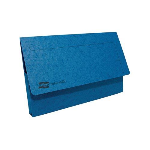 Exacompta Europa Pocket Wallet Foolscap Blue (Pack of 10) 5255Z