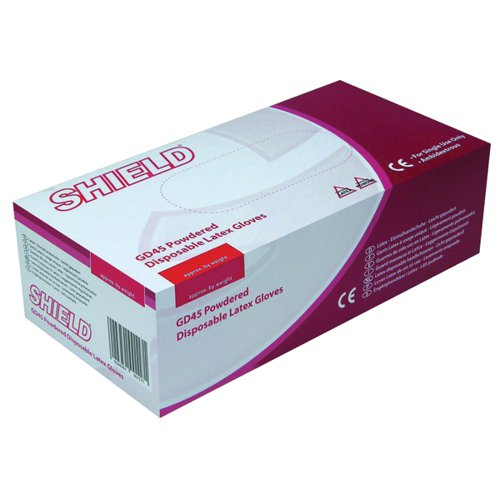 Shield Latex Gloves Large Pk100 Nat Gd45