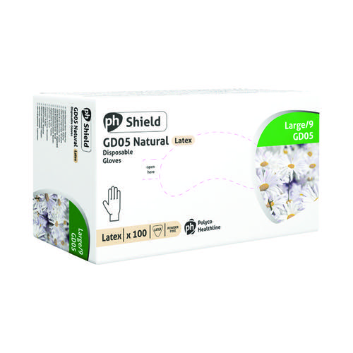 Shield Powder-Free Latex Gloves Lg Pk100
