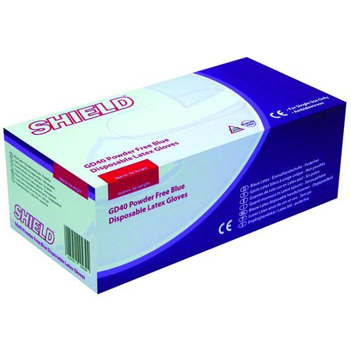 Shield Powder-Free Blue Medium Latex Gloves (Pack of 100) GD40