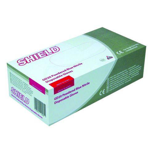 Shield Nitrile Gloves Blue Med P100 Gd20