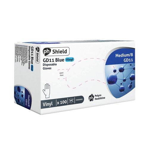 Shield Vinyl Gloves Blue Medium Pk100