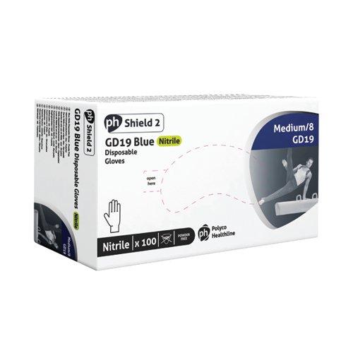 Shield Powder-Free Blue Nitrile Medium Gloves (Pack of 100) GD19