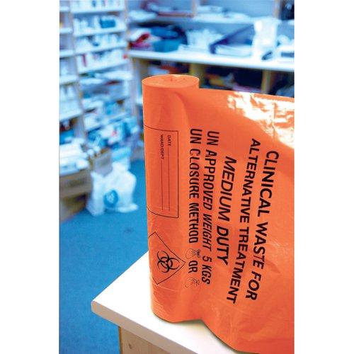 Clinical Waste Sack Medium Duty Orange (Pack of 200) AT25/M111