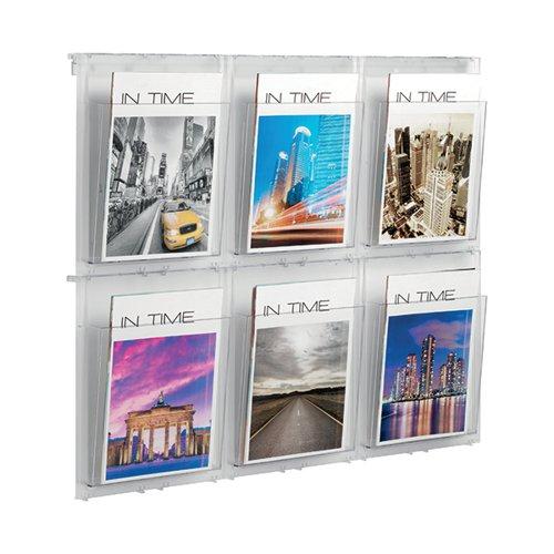 Helit Wall Display 6xA4 Pockets Clear H6812002