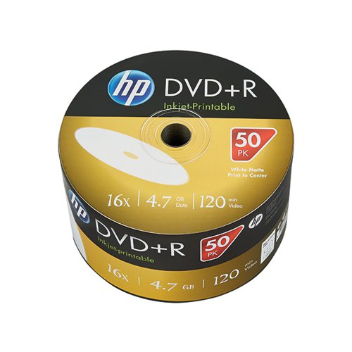 HP DVD-R Inkjet Print 16X 4.7GB Wrap (Pack of 50) 69302