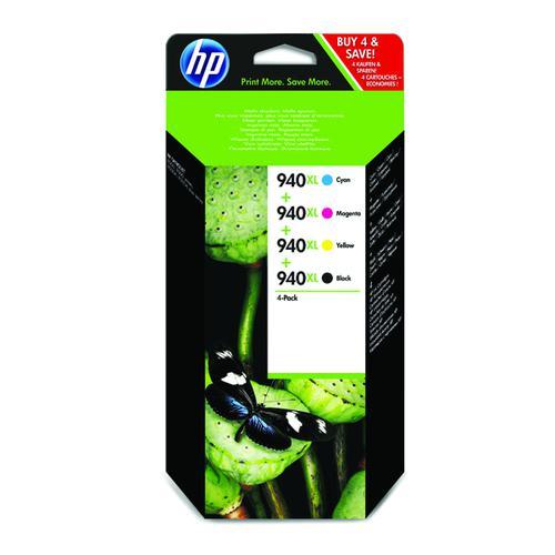 HP 940XL Black/Cyan/Magenta/Yellow High Yield Inkjet Cartridge (Pack of 4) C2N93AE