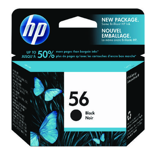 HP 56 Black Inkjet Cartridge (Standard Yield, 450 Page Capacity) C6656AE