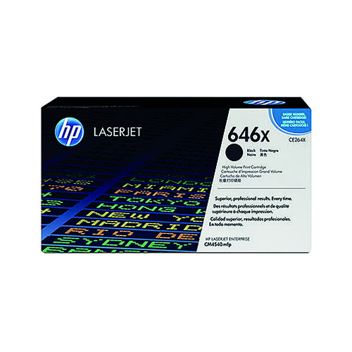 HP 646X Black High Yield Laserjet Toner Cartridge CE264X