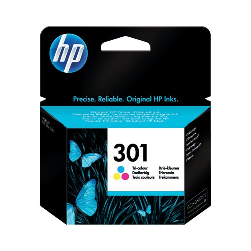 HP 301 Cyan/Magenta/Yellow Ink Cartridge (Capacity: 165 pages) CH562EE