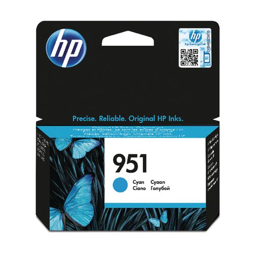 HP 951 Cyan Inkjet Cartridge (Standard Yield, 700 Page Capacity) CN050AE