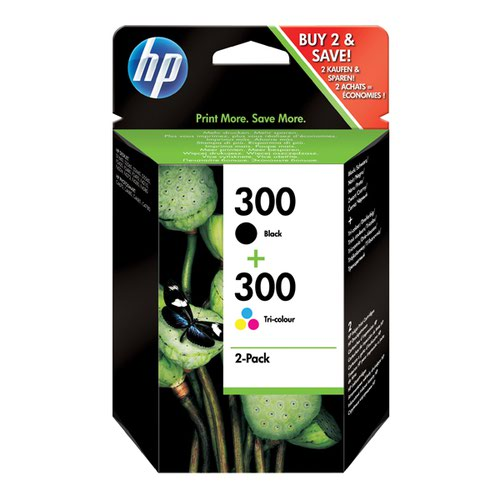 HP 300 Black /Cyan/Magenta/Yellow Inkjet Cartridge (Pack of 2) CN637EE