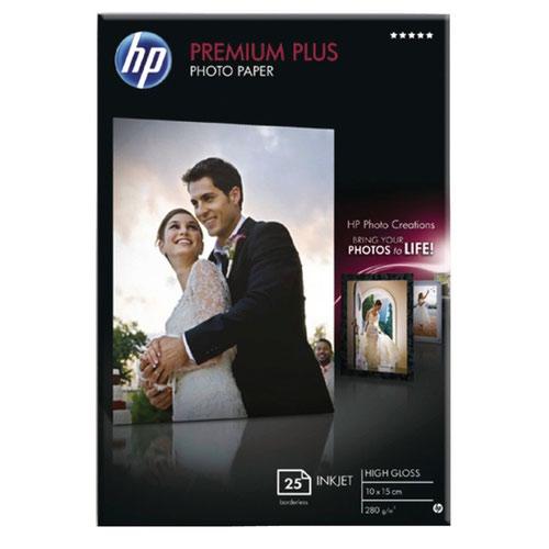 HP White 10x15cm Premium Plus Glossy Photo Paper (Pack of 25) CR677A