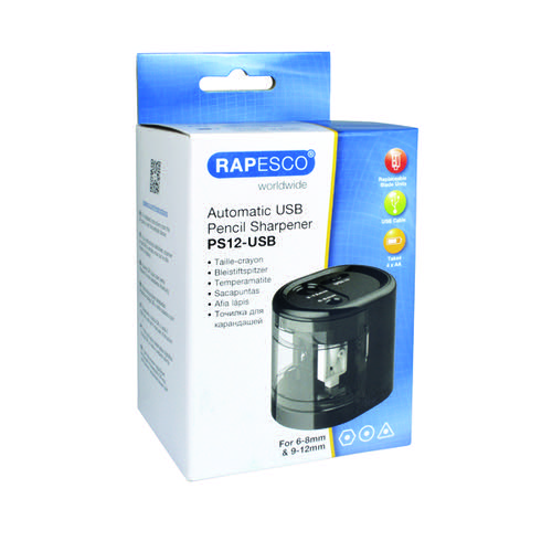 Rapesco USB Electric Pencil Sharpener Dual Power USB or Battery Black 1449