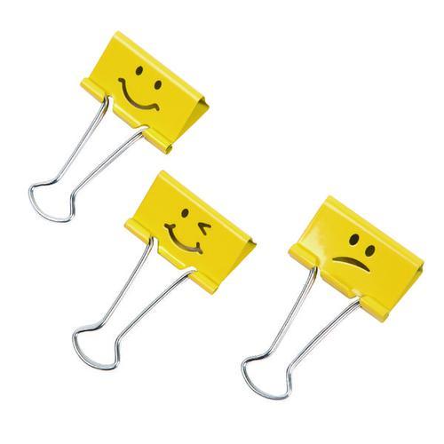 Rapesco 32mm Foldback Clips Assorted Emojis Yellow PK20