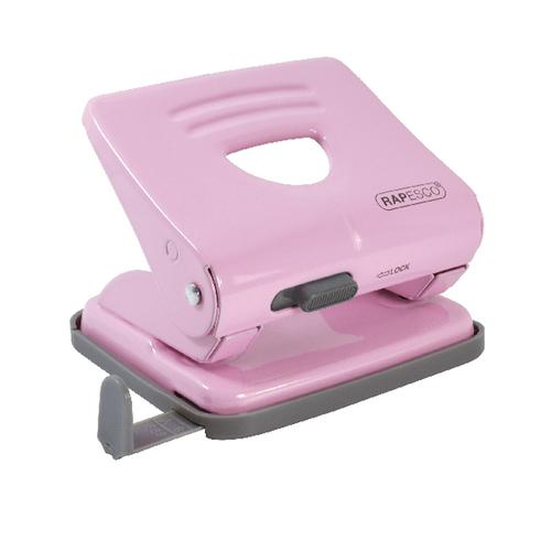 Rapesco 825 2 Hole Metal Punch Capacity 25 Sheets Candy Pink 1358