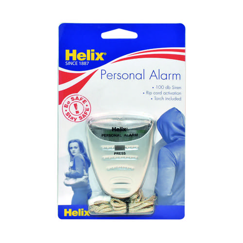 Helix Personal Attack Alarm With Torch Silver PS2070