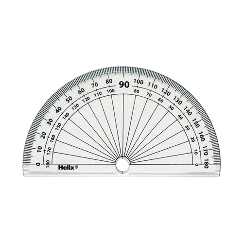 Helix 10cm 180 Degree Protractor Clear H02040