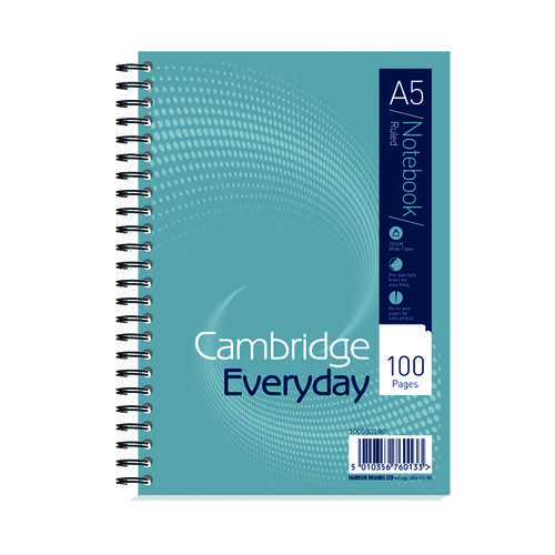 Cambridge Notebook Wirebound 100P 70g A5 (Pack of 10) 100080190