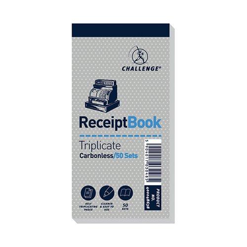 Challenge Triplicate Book Carbonless Receipt 50 Receipts 140x70mm (Pack 10)