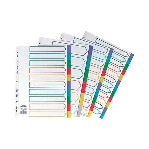 Concord Divider 10-Part A4 Polypropylene Multicoloured 06901