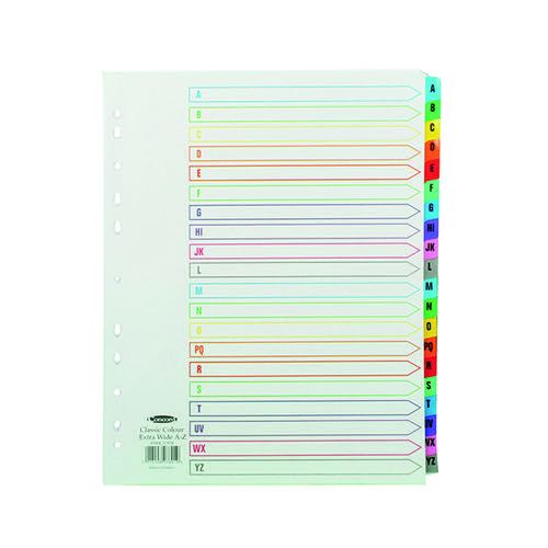 Concord Index A-Z A4 Extra Wide Multicoloured Mylar Tabs 07801/CS78