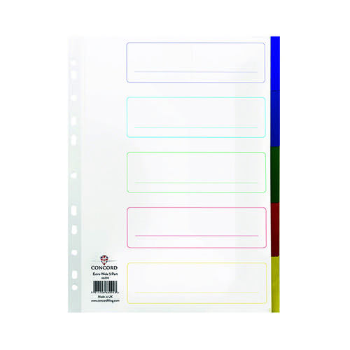 Concord Divider 5-Part A4 Extra Wide Polypropylene Multicoloured 66099