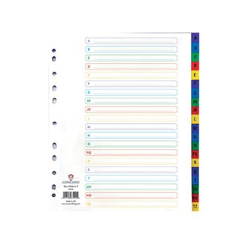 Concord Index A-Z A4 Extra Wide Polypropylene Multicoloured 67099