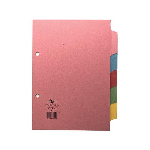 Concord Divider 5-Part A5 160gsm Pastel Colours 70599/J5