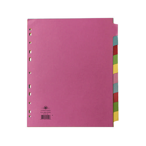 Concord Divider 10-Part A4 Extra Wide Pastel Colours 72699