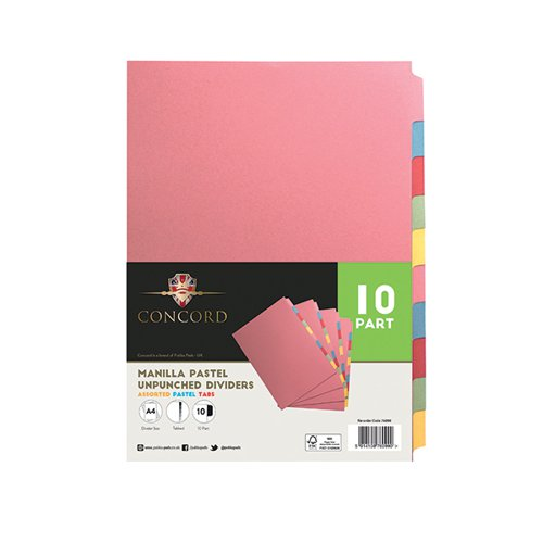 Concord Unpunched Divider 10-Part A4 Multicoloured (Pack of 10) 76099