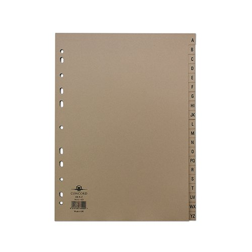 Concord Index A-Z 20-Part A4 Kraft Manilla Buff 78202/AZ2