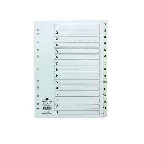 Concord Classic Index 1-15 A4 White Board Clear Mylar Tabs 01401/CS14