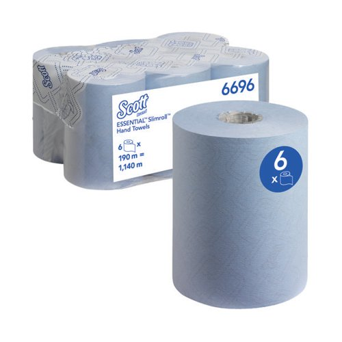 Scott Essential Slimroll Hand Towel Roll Blue 190m (Pack of 6) 6696