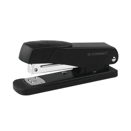 Q-Connect Half Strip Metal Stapler Black (Capacity: 20 sheets of 80gsm paper) KF01044