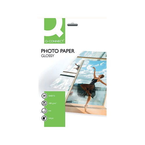 Q-Connect A4 Gloss Photo Paper 180gsm (Pack of 20) KF01103