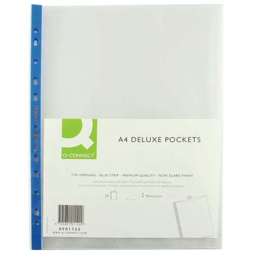 Q-Connect Punched Pocket A4 Deluxe Top Opening Blue Strip KF01122 Pack of 25