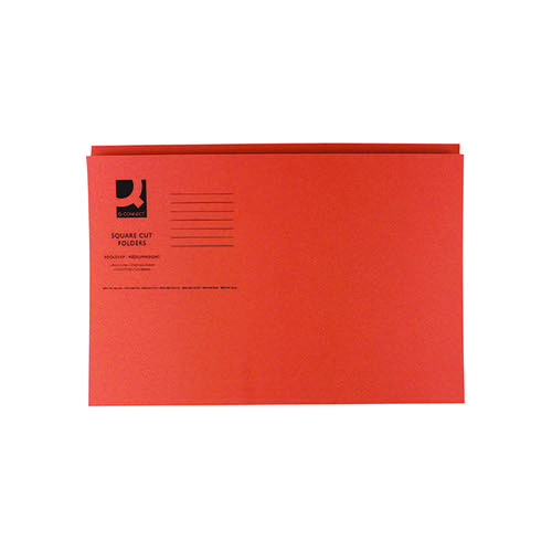 Q-Connect Square Cut Folder Mediumweight 250gsm Foolscap Orange (Pack of 100) KF01188